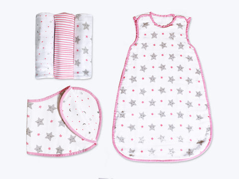 'Sleepy Star' Hush Little Baby Organic Muslin Bundle (Pink)
