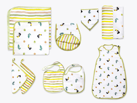 'Tropical Toucan' Classic Organic Muslin Bundle