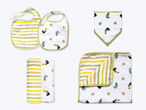 'Tropical Toucan' Classic Mini Organic Muslin Bundle