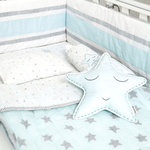 Organic Cotton Cot Bedding Set – Sleepy Star (Blue)