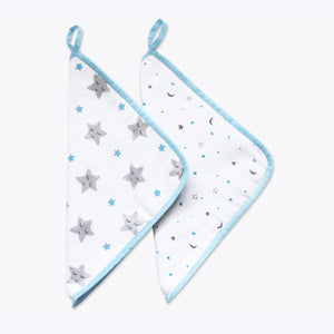 Organic Muslin Washcloths (Set of 2) – Sleepy Star (Blue)