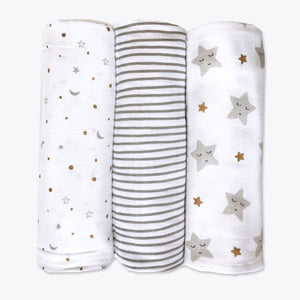 Organic Muslin Swaddles (Set of 3) – Sleepy Star (Metallic)