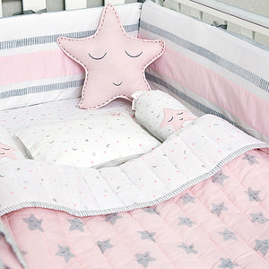 Organic Cotton Cot Bedding Set – Sleepy Star (Pink)
