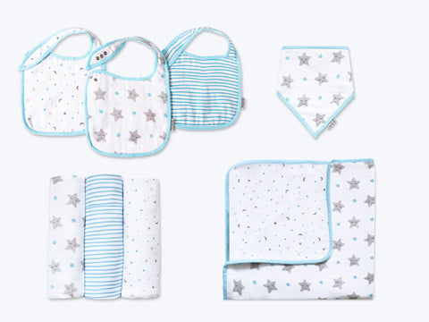 'Sleepy Star' Classic Mini Organic Muslin Bundle (Blue)