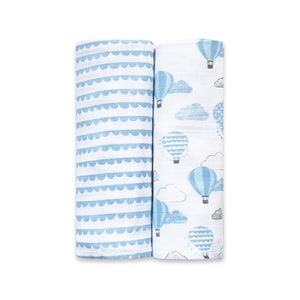 Organic Muslin Swaddles (Set of 2) - Up, Up & Away (Blue)