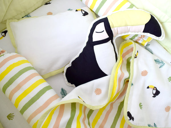 'Tropical Toucan' Organic Cot Bedding Set