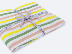 Organic Muslin Fitted Cot Sheet – Tropical Stripe