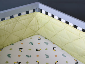 Quilted Cot Bumper – Tropical Green