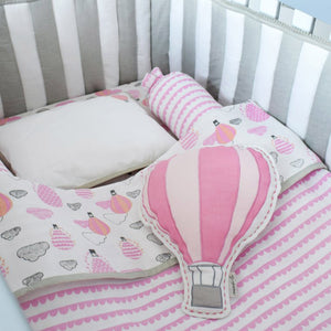 Organic Muslin Cot Bedding Set – Up, Up & Away (Pink)