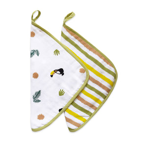 Organic Muslin Washcloths (Set of 2) – Tropical Toucan