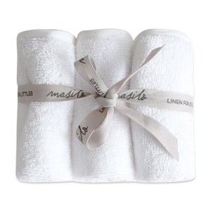 Organic Terry Towel Washcloths (Set of 3) – Cloud White