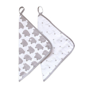 Organic Muslin Washcloths (Set of 2) – Sleepy Star (Metallic)