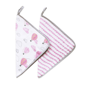 Organic Muslin Washcloths (Set of 2) – Up, Up & Away (Pink)