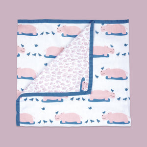 Organic Dohar Blanket - Happy As A Hippo