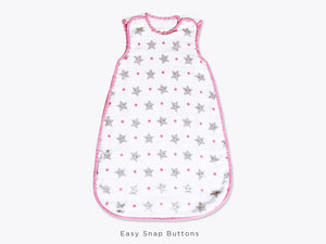 Organic Muslin Sleeping Bag – Sleepy Star (Pink)