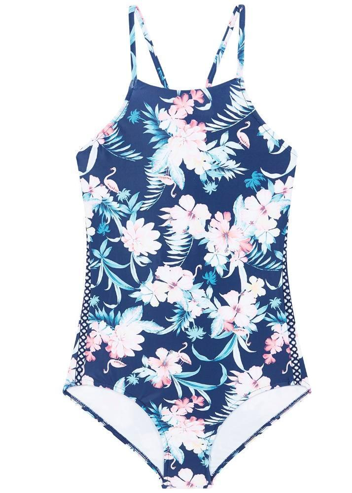 Seafolly girls swimsuit - tropical blue