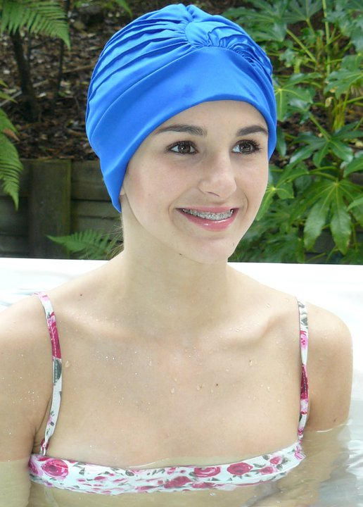 Fashy swimming cap - ruched turban - royal blue