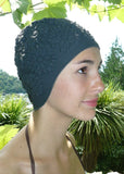 Fashy swimming cap - embossed black floral
