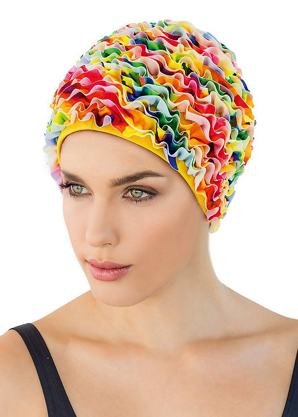 Fashy swimming cap - multi coloured frills