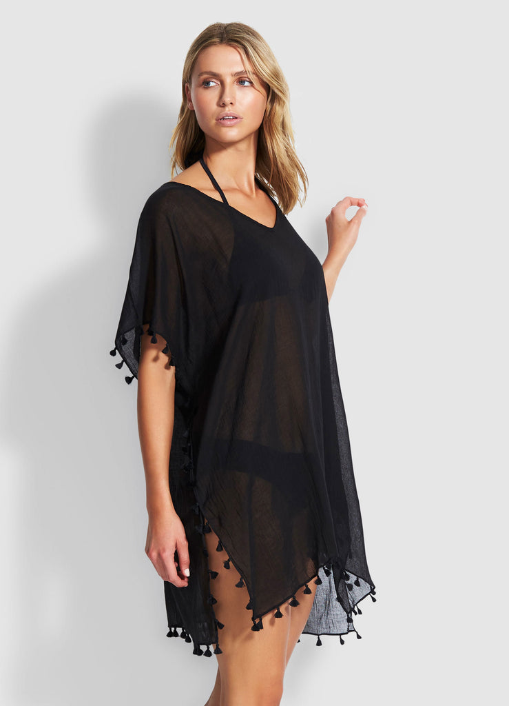 Seafolly womens kaftans - black amnesia