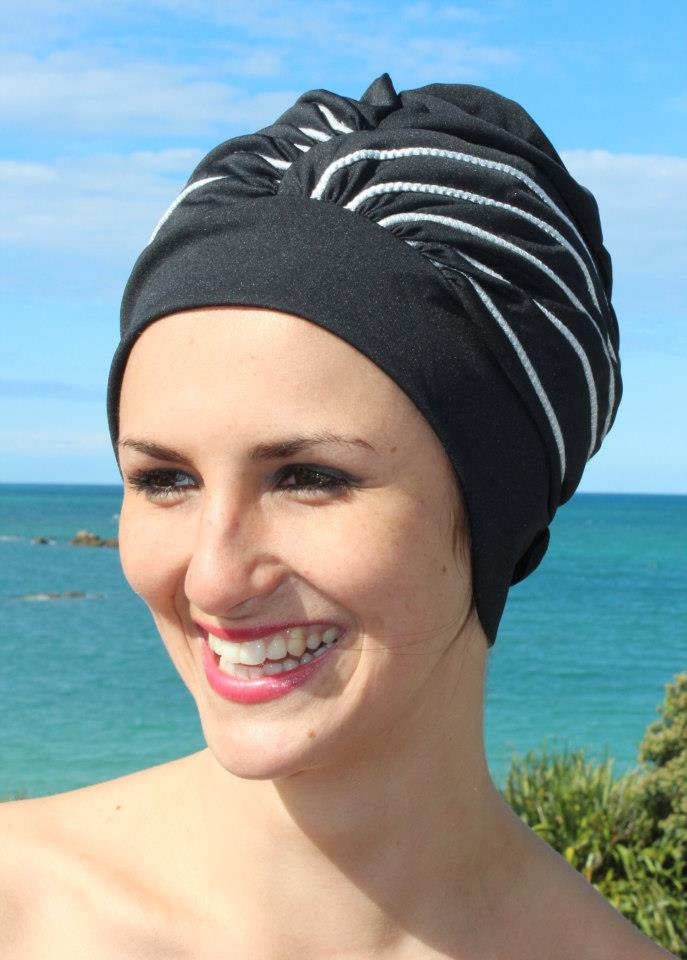 Fashy swimming cap - black with silver stripes