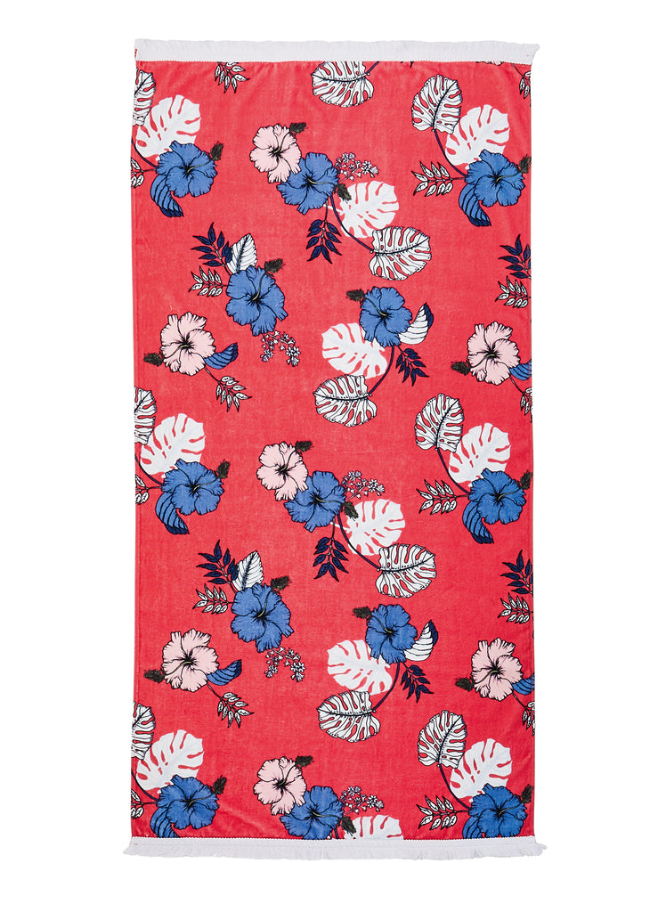 Seafolly towel - red hibiscus