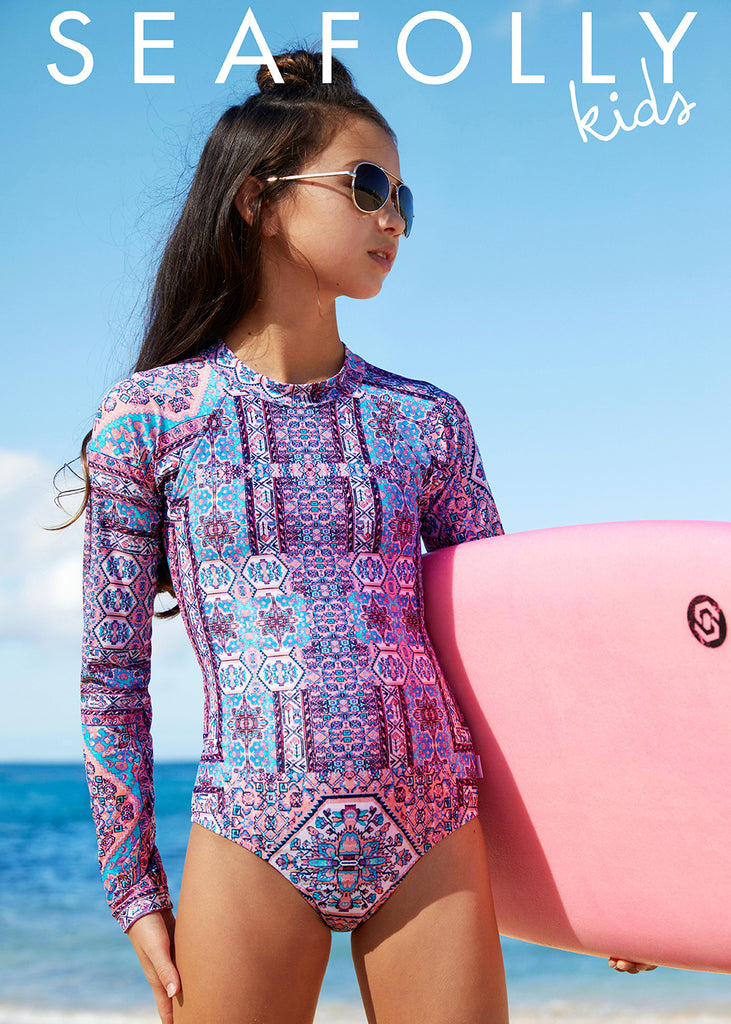 Seafolly UV sunsuit - lilac aztec
