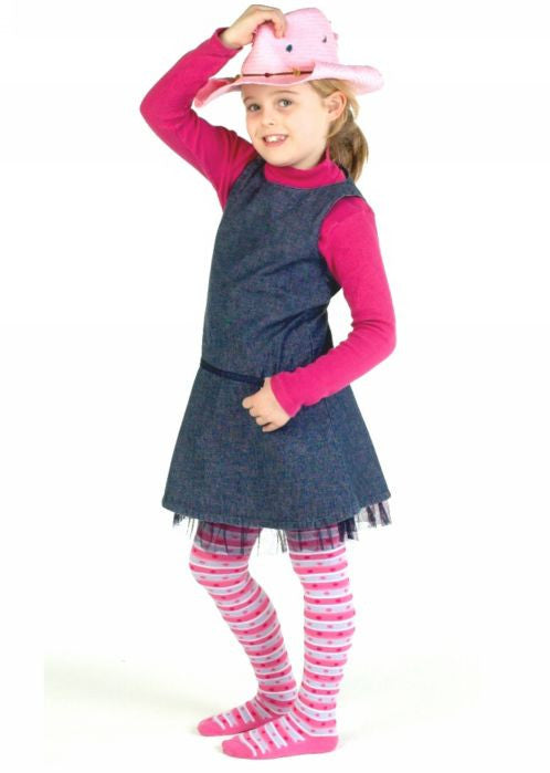 Country Kids tights - hot pink stripe