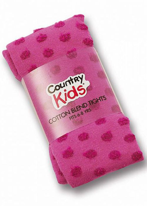 Country Kids tights - fluffy dot hot pink