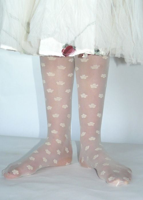 Country Kids sheer tights - ivory daisy