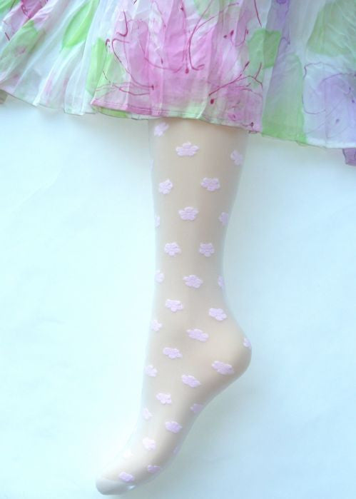 Country Kids sheer tights - pink daisy