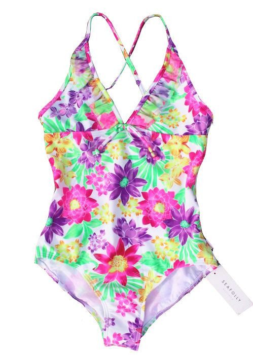 Seafolly girls swimsuits - tropica white
