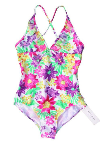 Seafolly girls swimsuit - aztec emerald