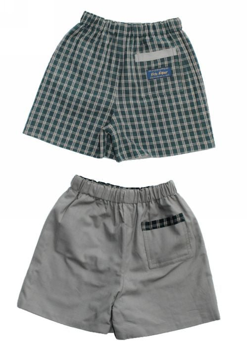 Kids Kaper boys shorts - green check
