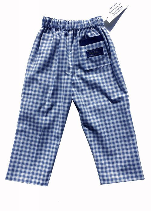 Kids Kaper summer trousers - pale blue check