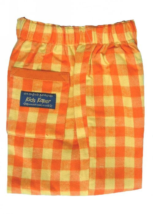 Kids Kaper boys trousers - orange/yellow check