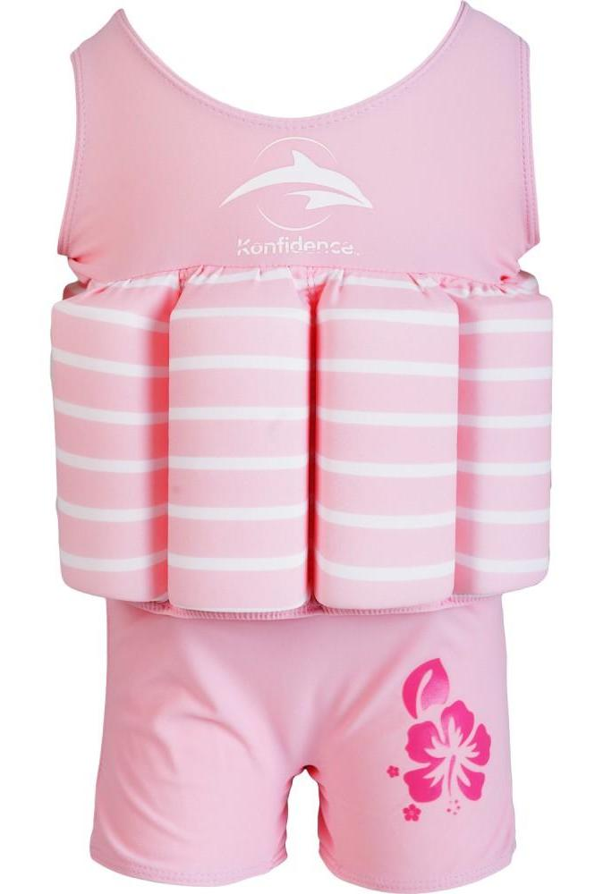 Konfidence float suit - pink/white stripe