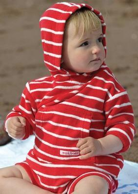 Mitty James toddler rompers - organic red/white