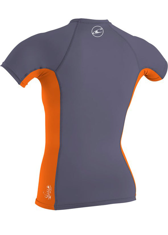 O'Neill girls rash tops - dusk papaya