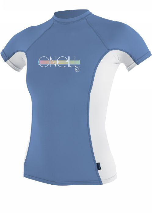 O'Neill girls rash tops - periwinkle/white