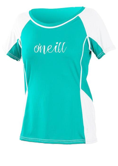 O'Neill girls rash tops - aqua/white