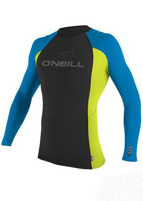 O'Neill mens rash tops - black/lime