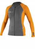 O'Neill womens rash tops - graphite/papaya zip