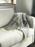 Palliser Ridge lambswool blanket - plain herringbone - Charcoal