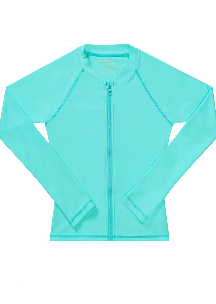 Seafolly girls UV rash top - emerald blue