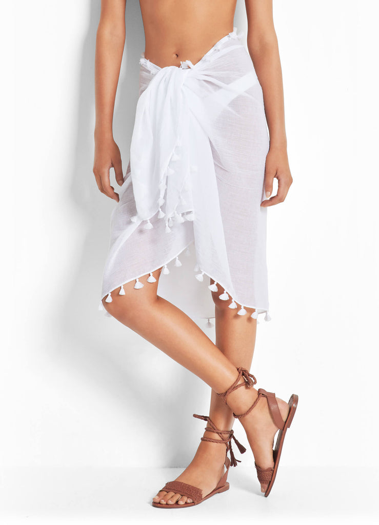 Seafolly womens sarong - white cotton gauze