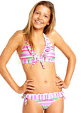Seafolly girls bikinis - boysenberry stripe