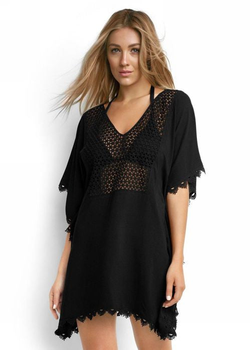 Seafolly womens kaftans - black lace