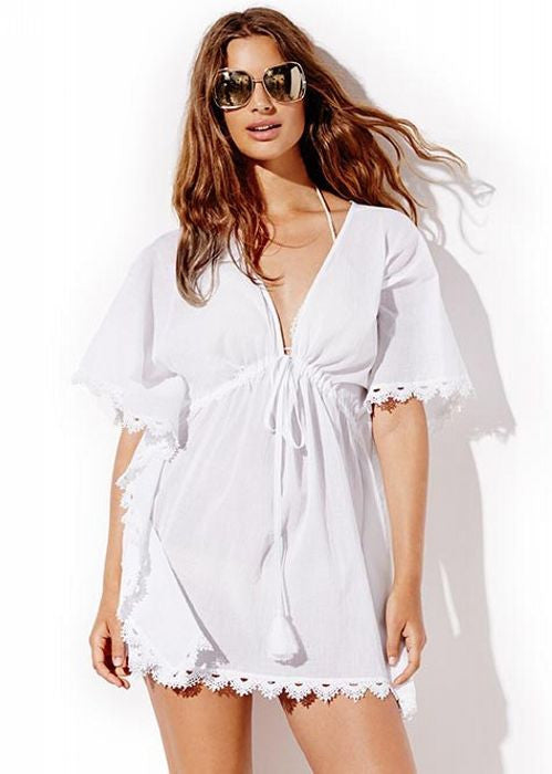 Seafolly womens kaftans - white crochet trim