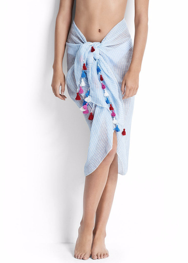 Seafolly womens sarong - chambray fine stripe